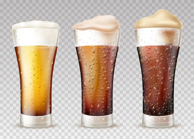 Cold beer or ale in wet glass realistic vector set Free Vector