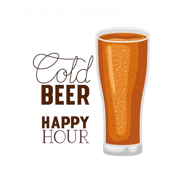 Cold beer happy hour label glass Premium Vector