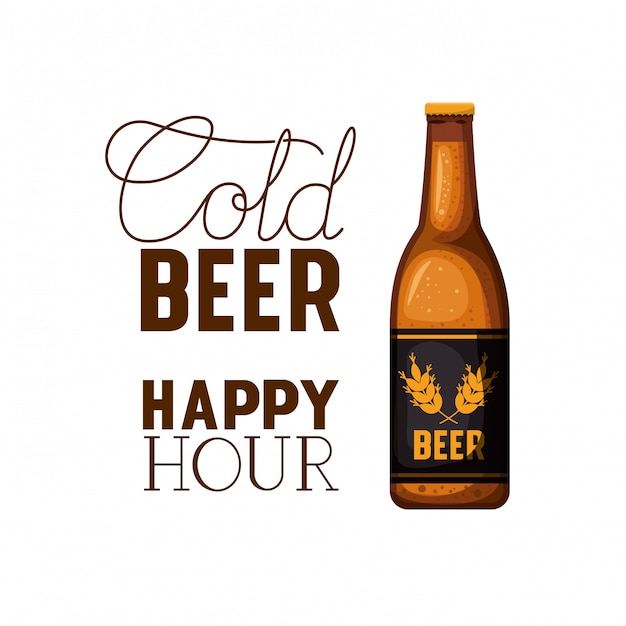Cold beer happy hour label with bottle icon Premium Vector