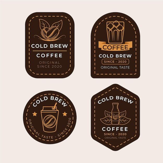 Progettazione di etichette per caffè freddo Vettore gratuito