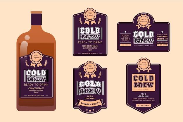 Confezione di etichette per caffè freddo Vettore gratuito