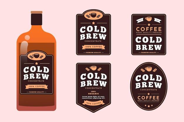 Set di etichette per caffè freddo Vettore gratuito
