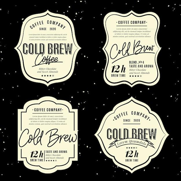 Stile di etichette di caffè freddo Vettore gratuito