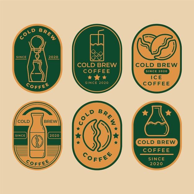 冷たいコーヒーのラベル 無料ベクター