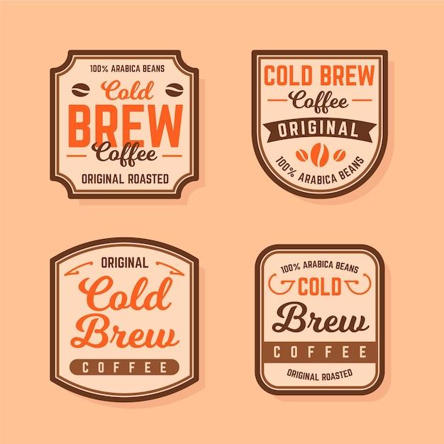 Etichette di caffè freddo Vettore gratuito