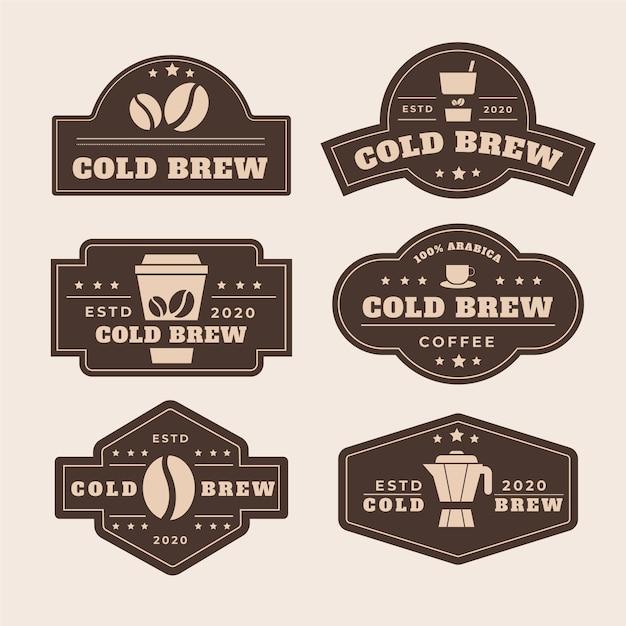 Этикетки для холодного кофе Бесплатные векторы