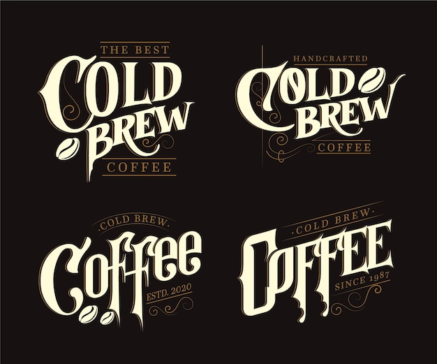 Cold brew coffee logos Free Vector