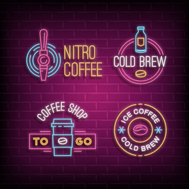 Cold brew coffee and nitro coffee neon logos. glowing badges on brick wall background Premium Vector