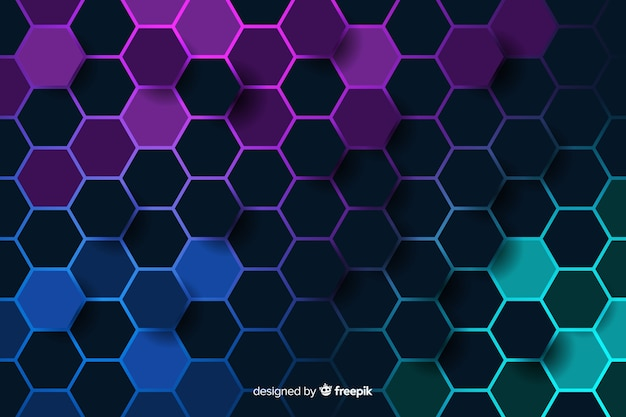 Cold coloured honeycomb of digital circuit background Free Vector