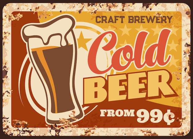 Cold craft beer rusty metal plate brewery production vintage rust tin sign Premium Vector