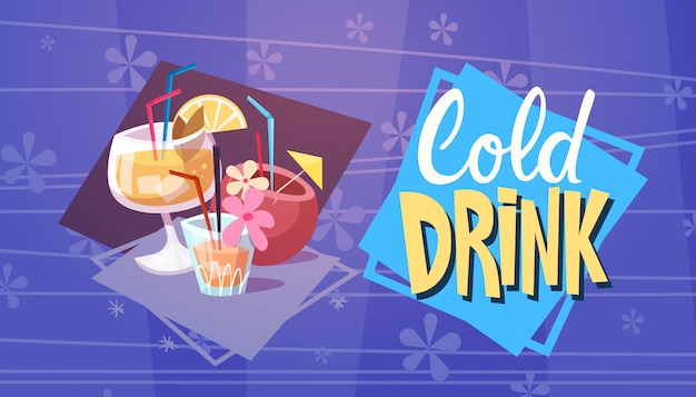 Cold drink cocktails summer time vacation sea travel retro banner seaside holiday Premium Vector