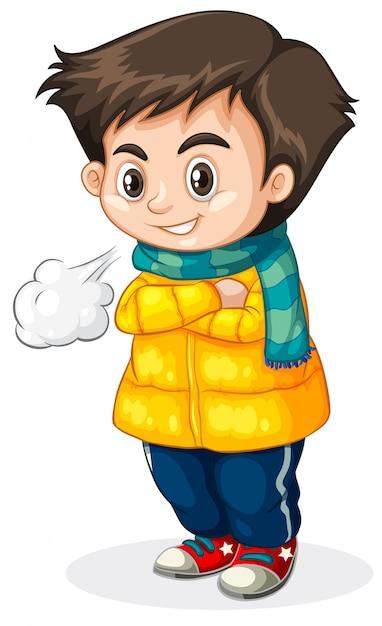 Cold kid white background Premium Vector