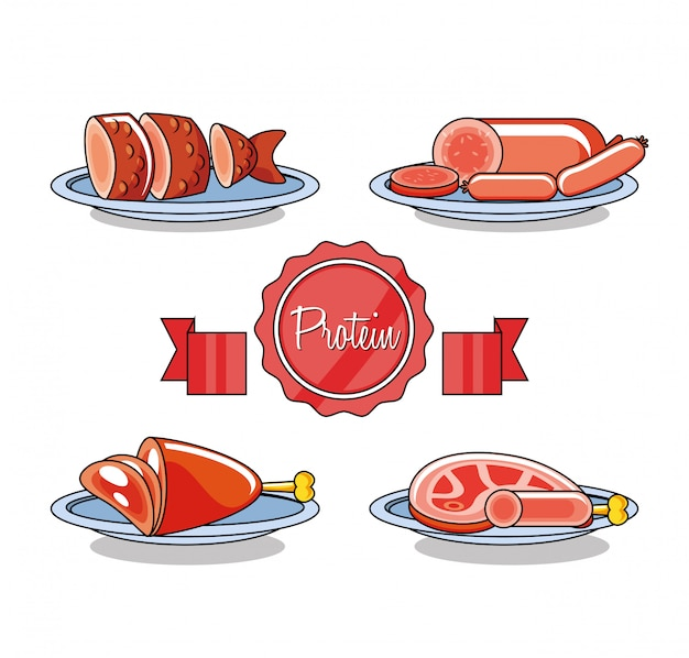 Cold meats products set Premium Vector