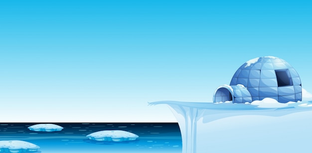 A cold north pole background Premium Vector