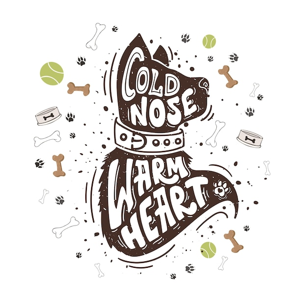 Cold nose warm heart Premium Vector