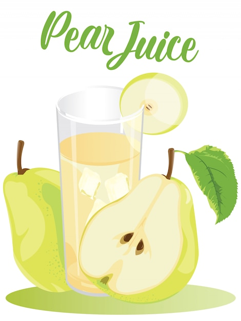 Cold pear juice in white background Premium Vector