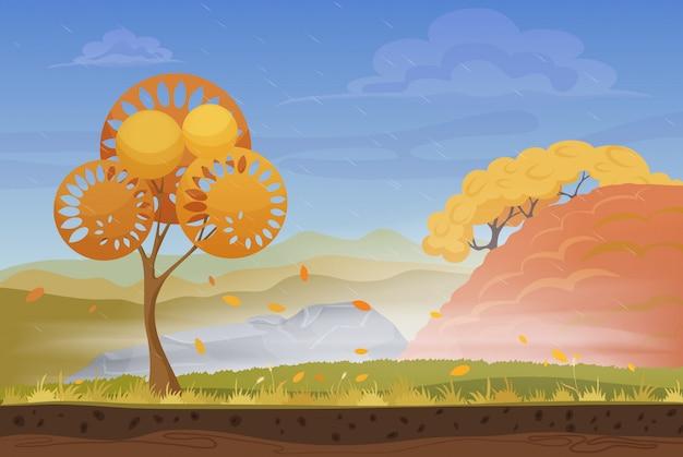 Cold, rainy and windy autumn landscape Premium Vector