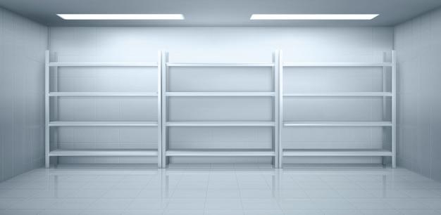 Холодная комната на складе с пустыми металлическими стеллажами Бесплатные векторы