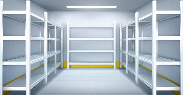 Cold room in warehouse with empty metal racks Free Vector