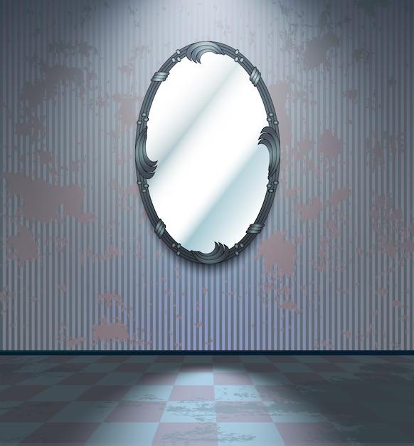 Cold room with mirror Premium Vector