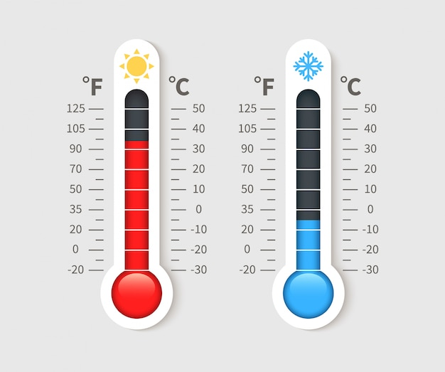 Cold warm thermometer. temperature weather thermometers with celsius and fahrenheit scale. thermostat meteorology  icon Premium Vector