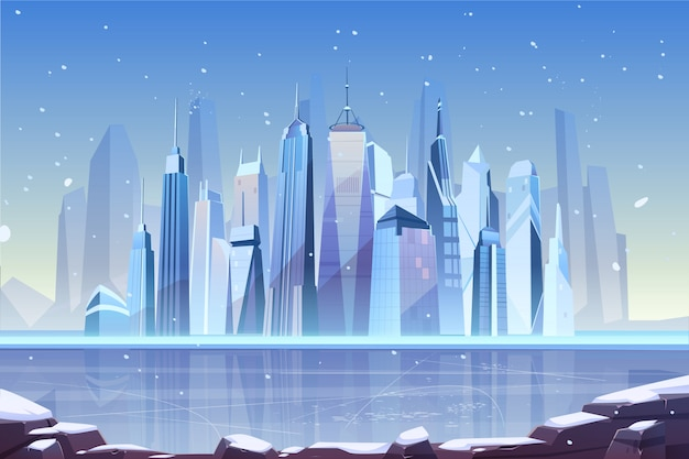 Cold winter in modern metropolis illustration Free Vector