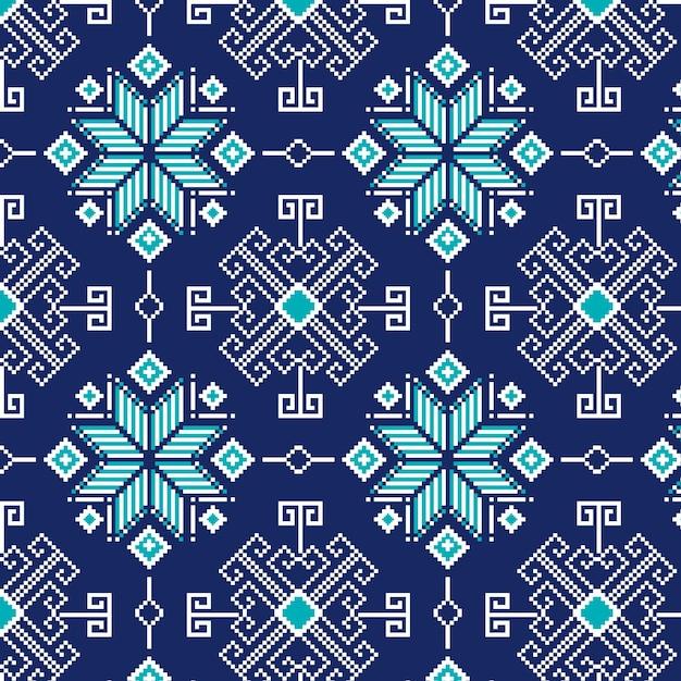 寒い冬の雪片のソンケットパターン Premiumベクター