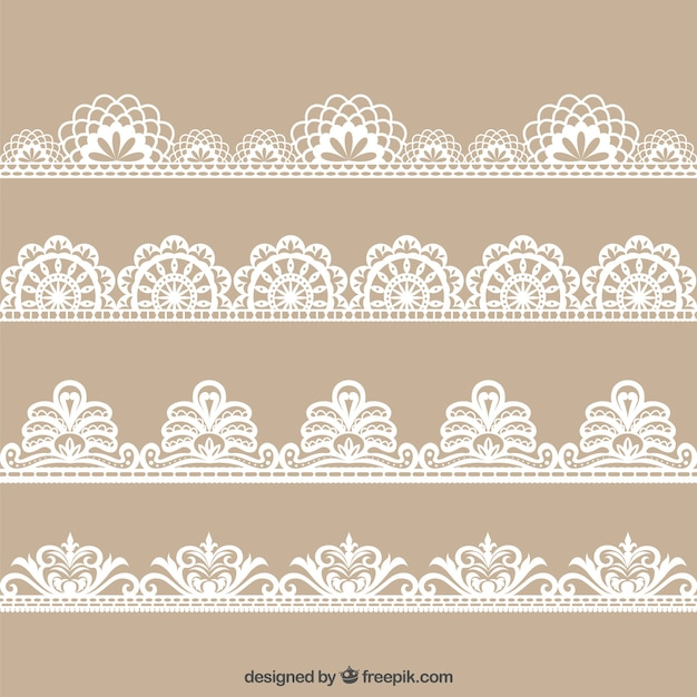 Colecction of hand drawn floral lace decoration Premium Vector