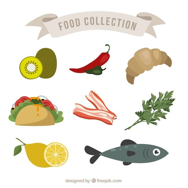 Colecction здорового питания Бесплатные векторы