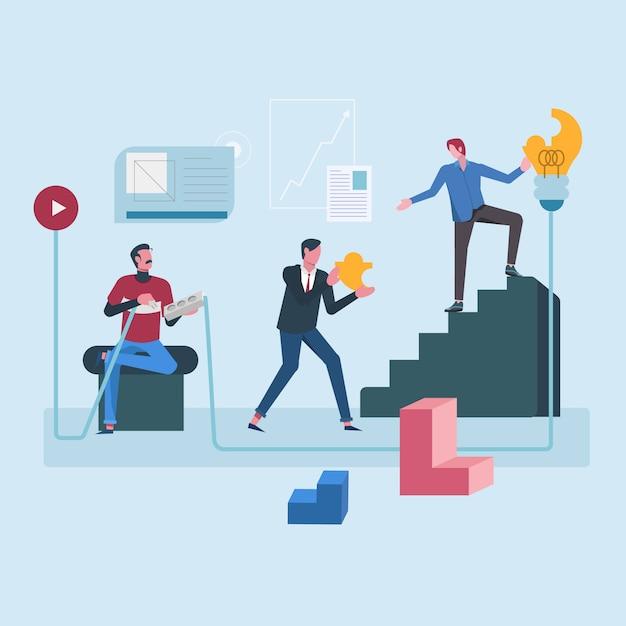 企業目標のための共同作業 Premiumベクター