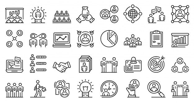 Collaboration icons set, outline style Premium Vector