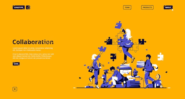 Collaboration and teamwork landing page. concept of partnership, support and communication in business. Free Vector