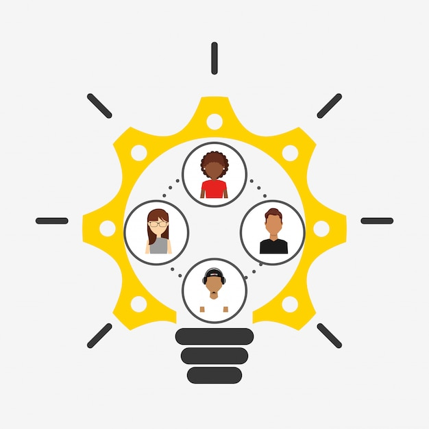 Collaborative concept illustration Free Vector