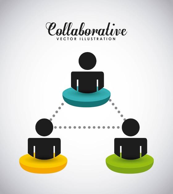 協力的な人々のデザイン、ベクトルイラストeps10グラフィック Premiumベクター