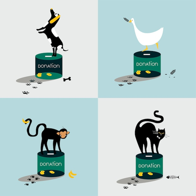 Collage of animals standing on a donation box Free Vector