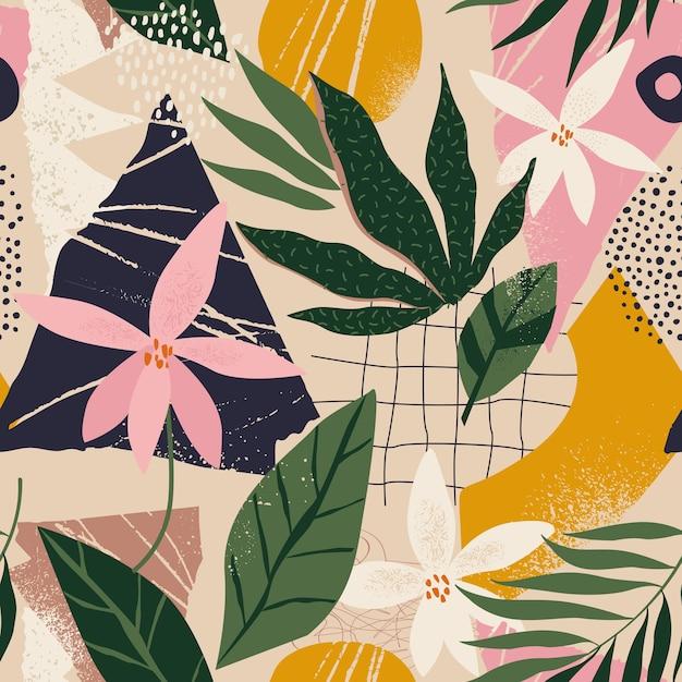 현대 꽃과 폴카 도트 모양 원활한 패턴 콜라주 프리미엄 벡터