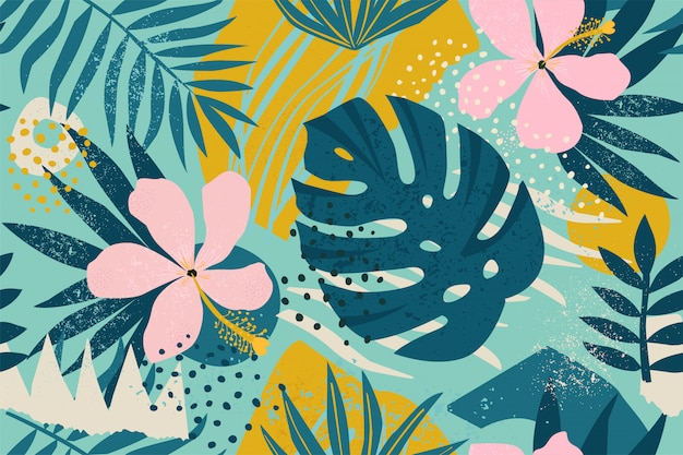 Collage contemporary floral seamless pattern. Premium Vector