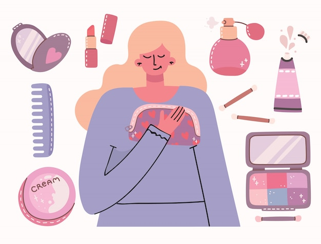 Collage of cosmetics and body care products around girl . you are beautiful card. lipstick, lotion, hair comb, powder, perfumes, brush, nail polish. Premium Vector