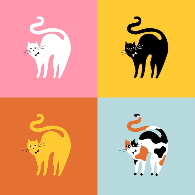 Collage of different breeds of cats Free Vector