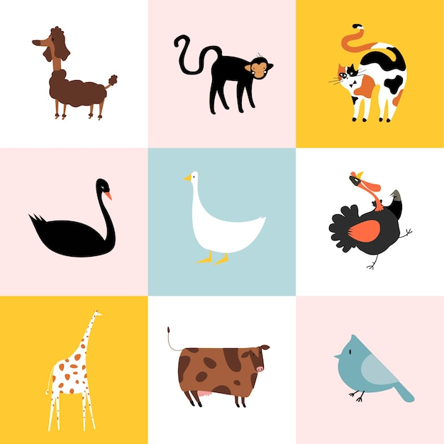 Collage of different kinds of animals Free Vector