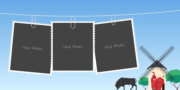 Коллаж из фоторамки иллюстрации Premium векторы