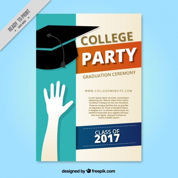 Collage party brochure with graduation cap Free Vector
