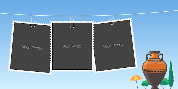 Collage of photo frames  illustration Premium Vector