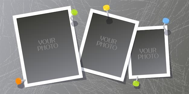 Collage of photo frames  illustration Premium Vector