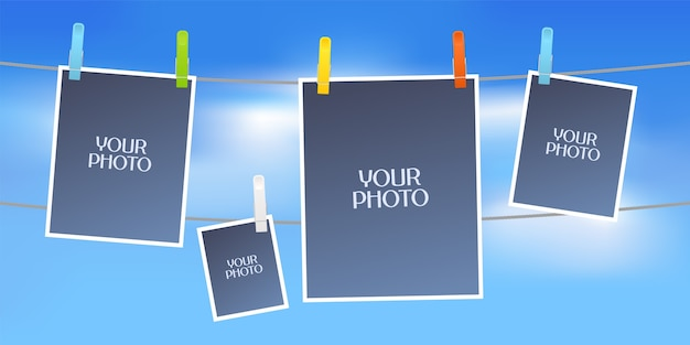 Collage of photo frames vector illustration. design element of sky and five empty frames for scrapbook or photo album Premium Vector