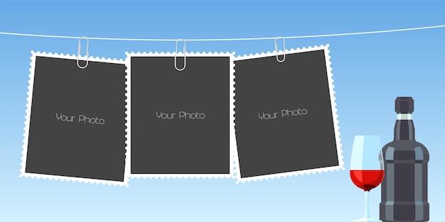 Collage of photo frames Premium Vector