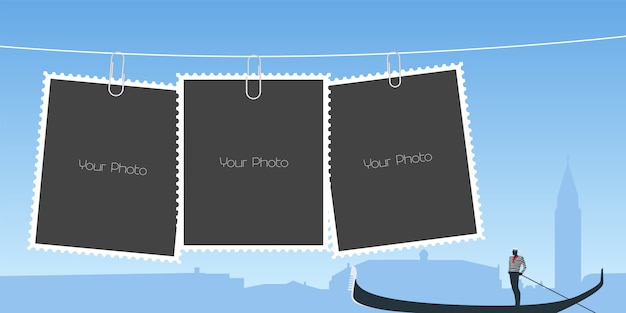 Collage of photo frames Premium Vector