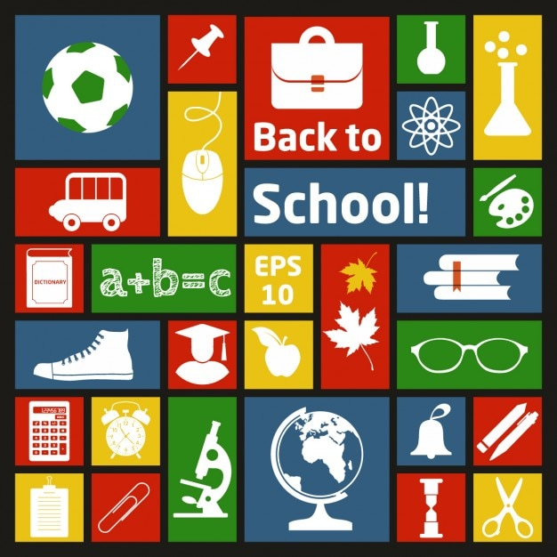 Collage Of School Materials Vector Free Download