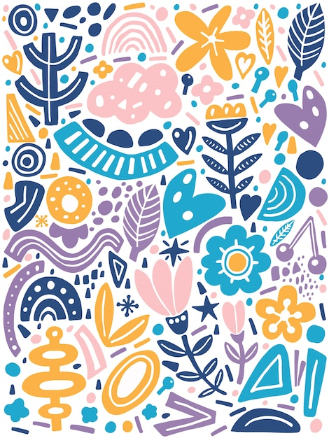 Collage style with abstract and organic shapes in pastel color Premium Vector