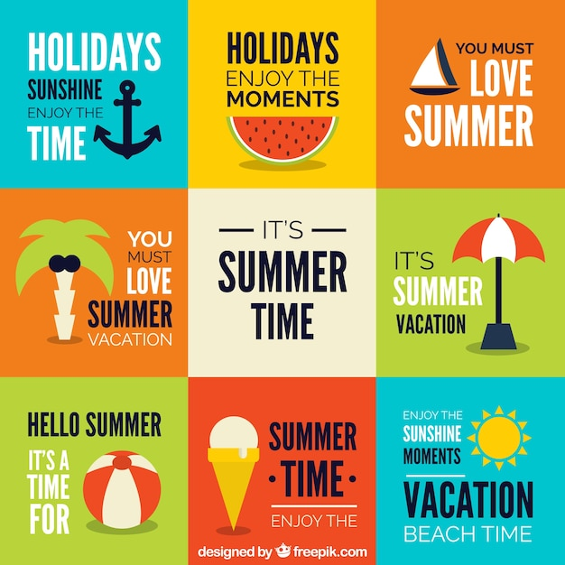 Collage with summer elements in flat\ design